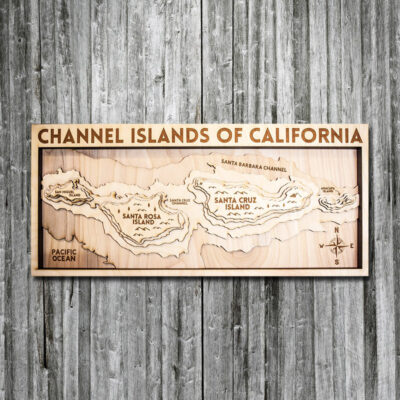 Channel Islands wood map, Santa Barbara