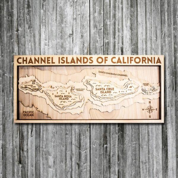 Channel Islands wood map, Santa Barbara