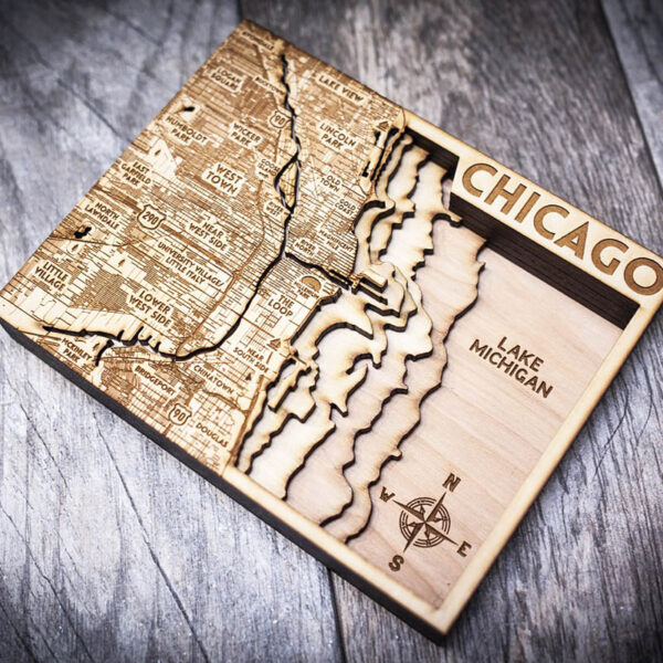 Wooden map of Lake Michigan featuring Chicago