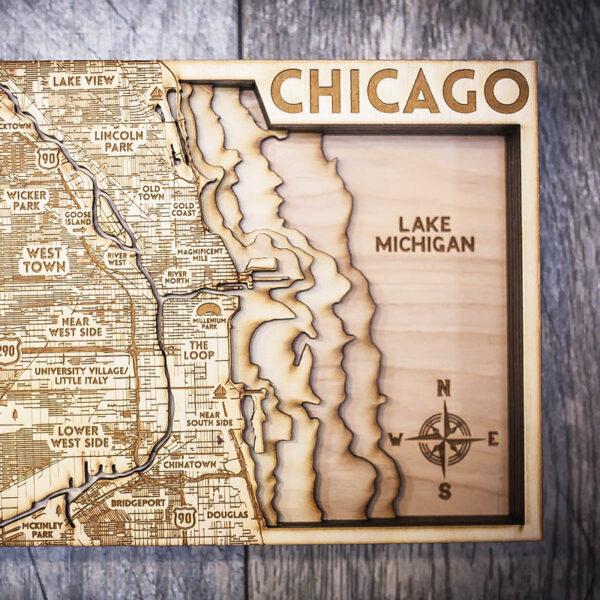Chicago Wood Map, Topo Map Lake Michigan