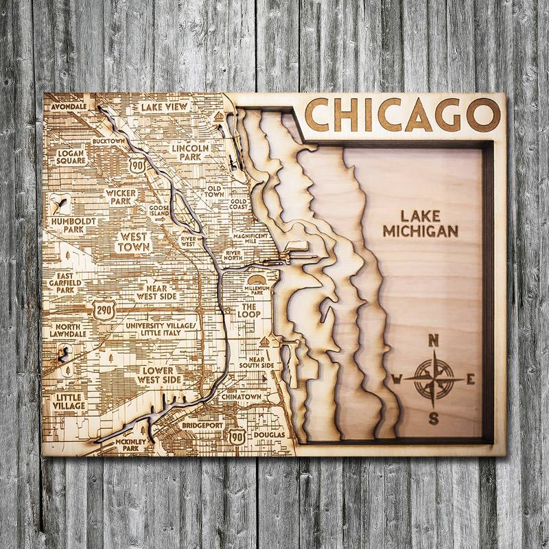 Chicago Wood 3d Wood Map, Lake Michigan