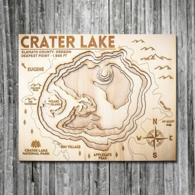 Crater Lake 3D Wooden Map