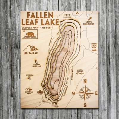Fallen Leaf Lake 3D Wooden Map, near Lake Tahoe