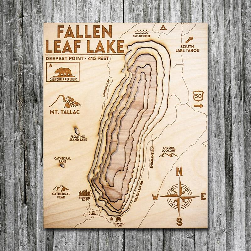 fallen leaf lake map Fallen Leaf Lake Ca Wood Map 3d Topographic Wood Chart fallen leaf lake map