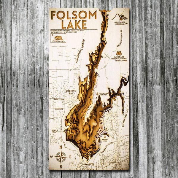 Folsom Lake Wood Map in 3D