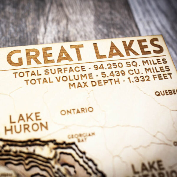 Great lakes wood map closeup
