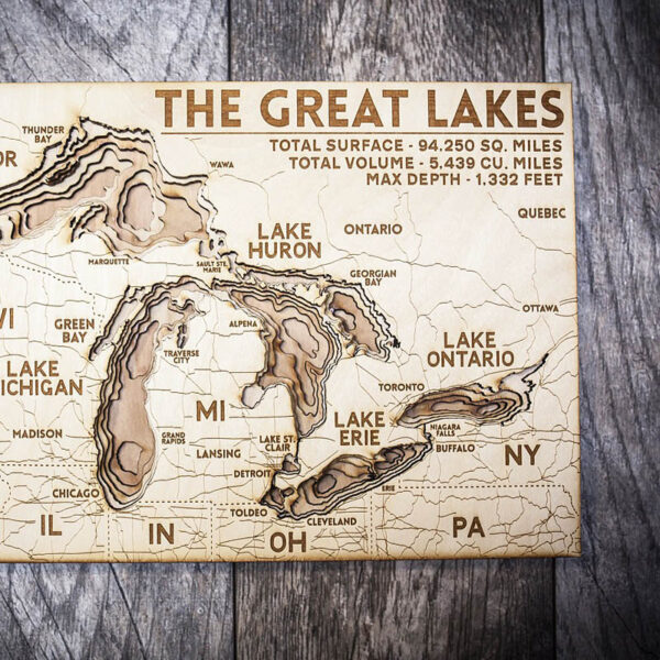 Wood map of the great lakes