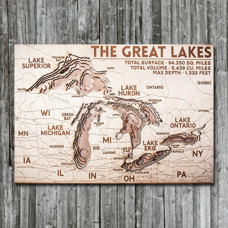 Great Lakes Wood Map 3D Chart