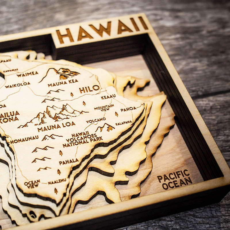 Hawaii Nautical Wood Map