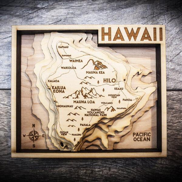 hawaii nautical wood map 3d