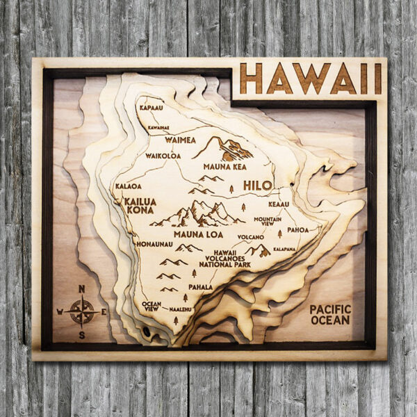 Hawaii wood chart 3d map