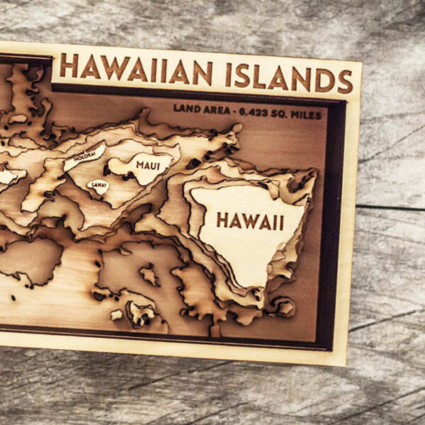 hawaiian islands wood map depth chart