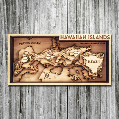 3d wood map of hawaiian islands