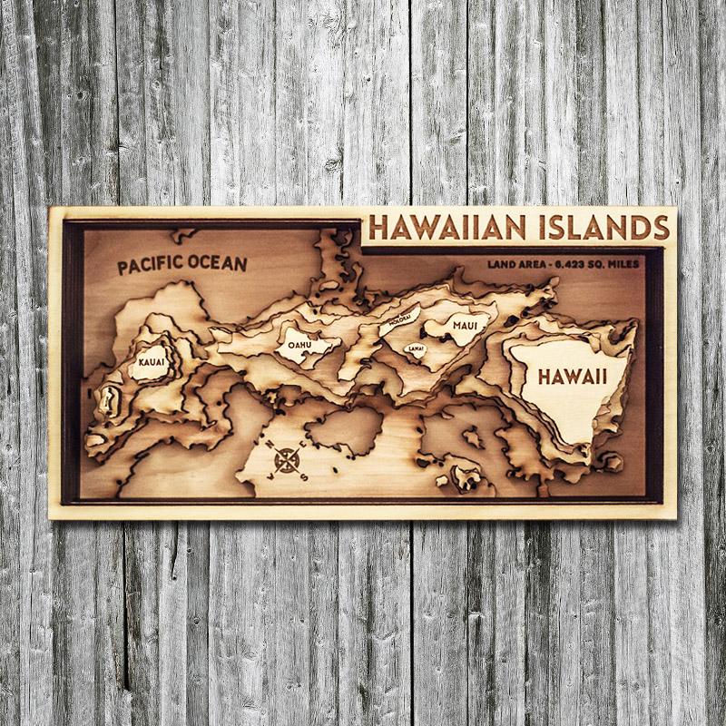 3d wood map of hawaiian islands