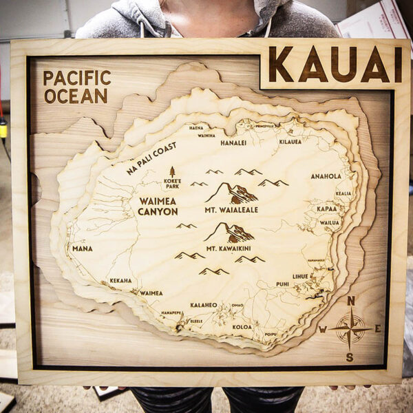 Kauai Nautical Wooden Topo Map