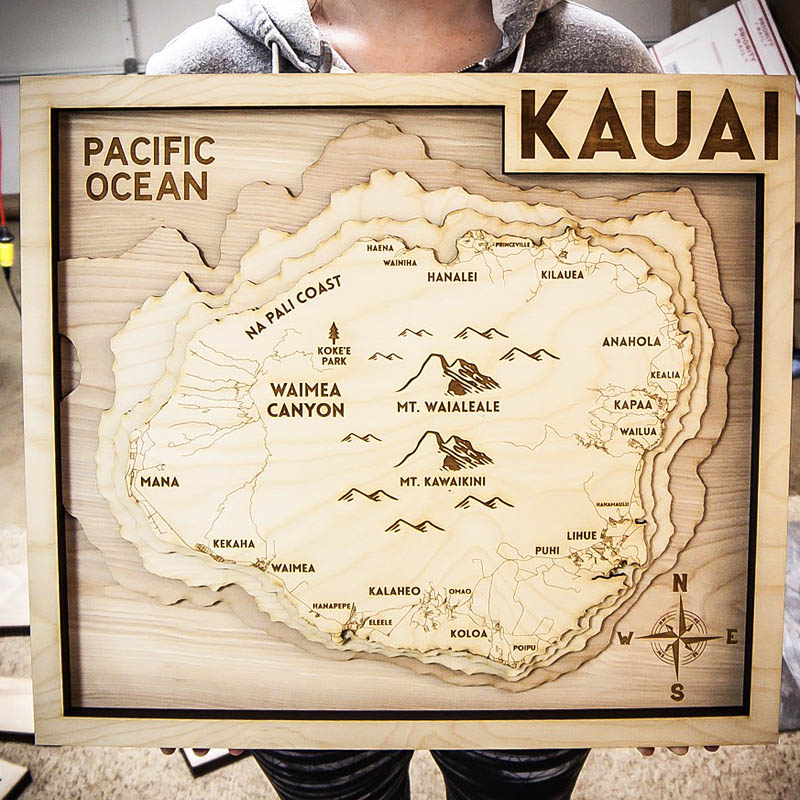KAUI wood map, 3d laser cut map