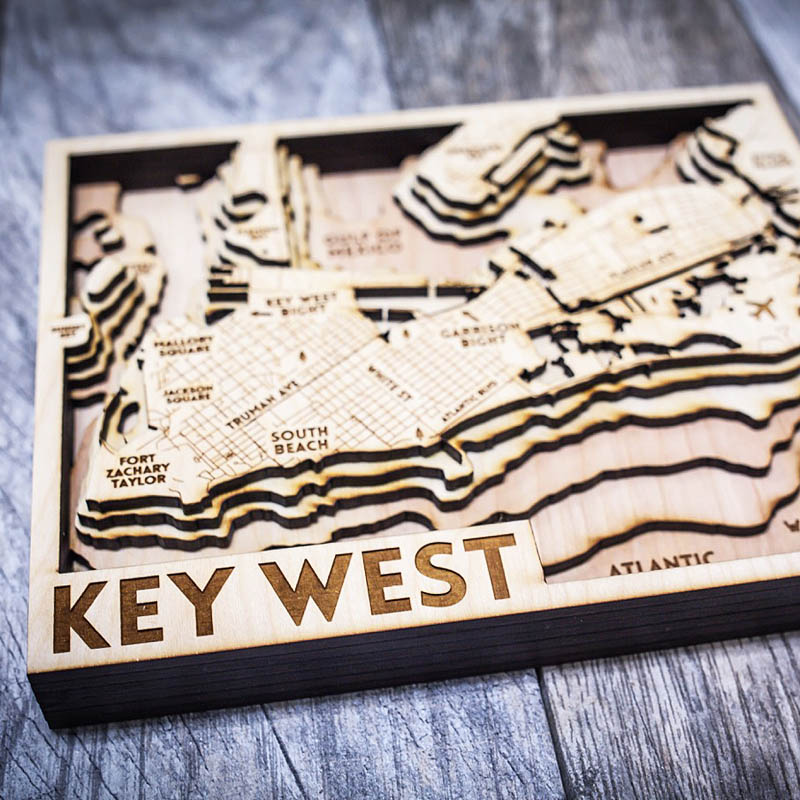 Key West 3D wood map, nautical beach house decor
