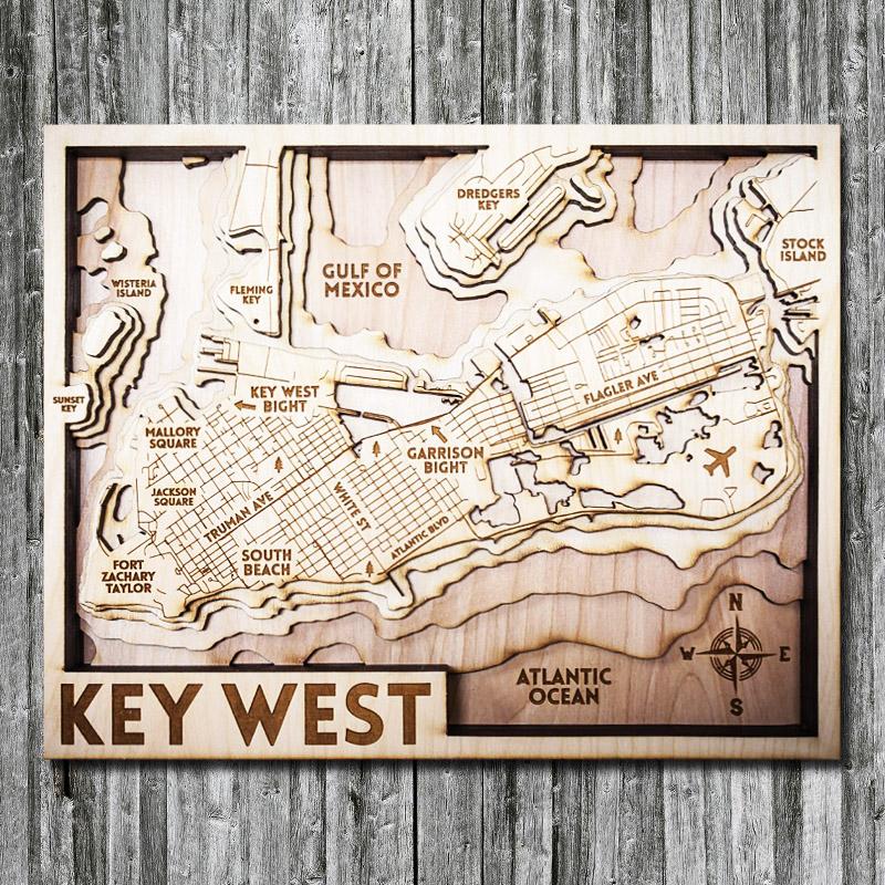Wood Map of Key West 3D