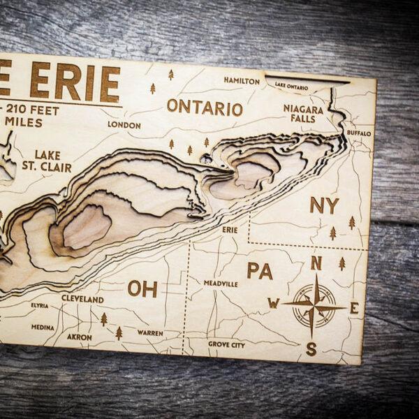 Wood map of Lake Erie