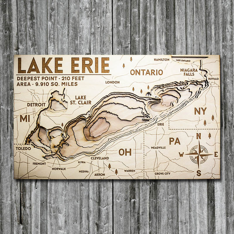 Wooden map of Lake Erie, 3D Chart in wood