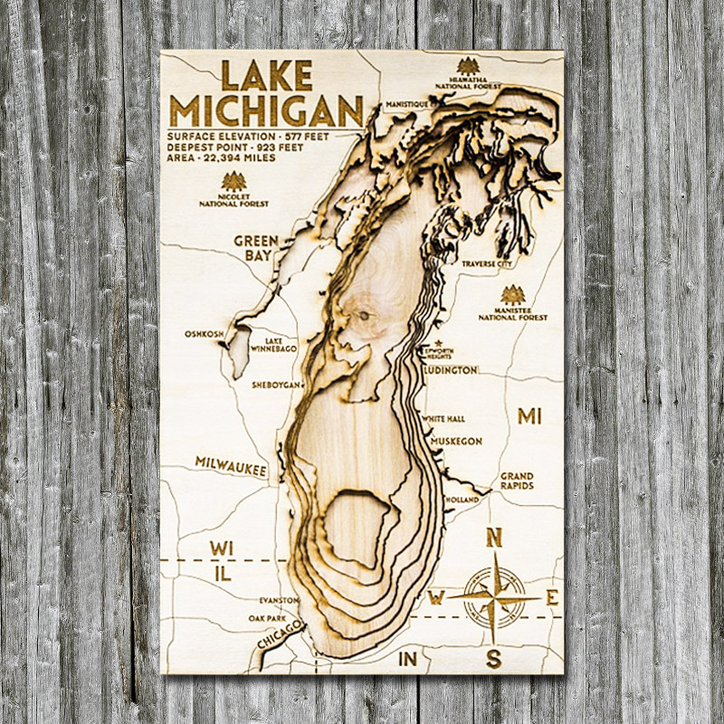 Lake Michigan Wood Map laser etched