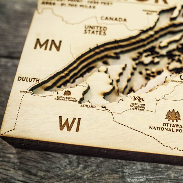Great Lakes - Superior Wooden Map Wall ARt