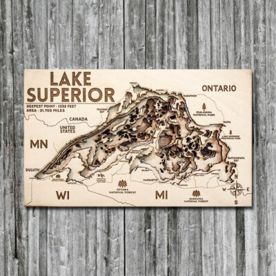 Lake Superior 3D Map, Wall Art
