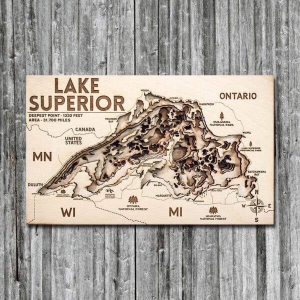 Lake Superior 3D Map, Wall Art