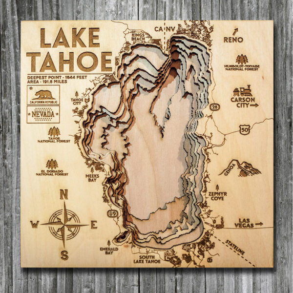 Lake Tahoe wooden map, 3D Topo Chart