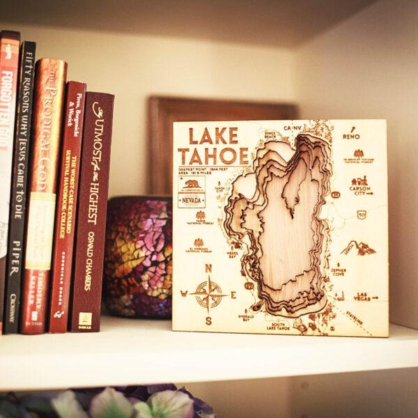Bookshelf map of Lake Tahoe