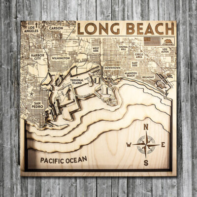 Long Beach CA wood map in 3d
