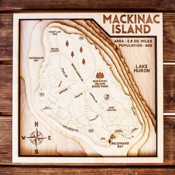 Mackinac Island Mi Lake Huron Wood Map 3d Wood Chart