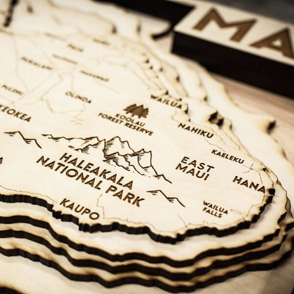 maui topo map for sale in wood