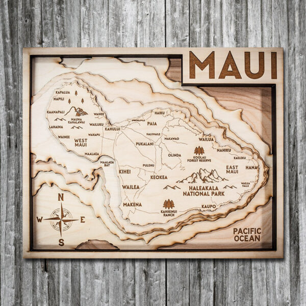 Maui 3D Wooden Map for sale