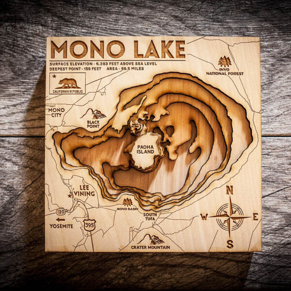 Mono Lake 3D Wood Map