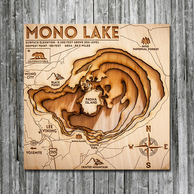 Mono Lake Wooden Map for Sale