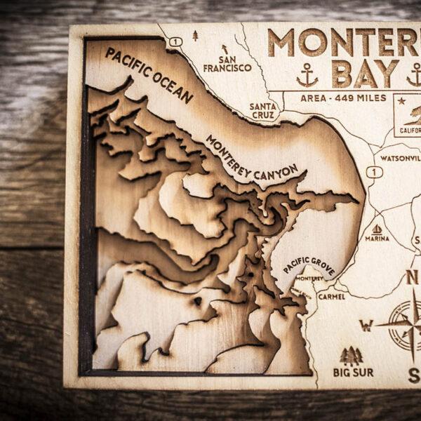 Monterey CA topo map in wood