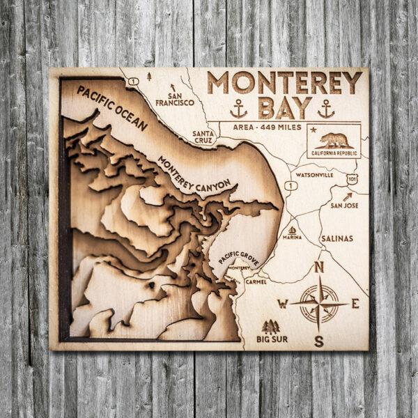 Monterey CA wooden map in 3D