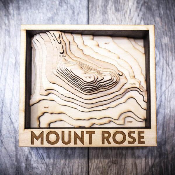 Mount Rose wooden map, gift idea, 3d map