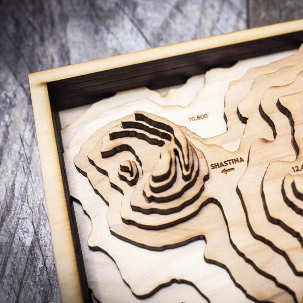 Mount Shasta Topographic Wood Wall Art
