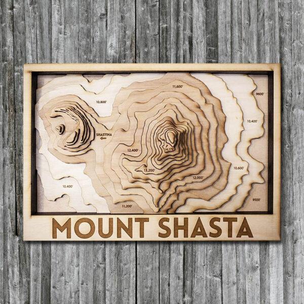 Mount Shasta 3D Wooden Map