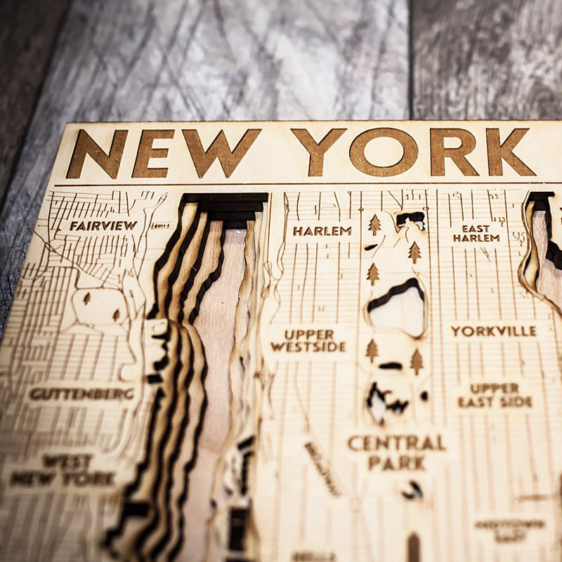 NYC map, New York City 3d laser cut map
