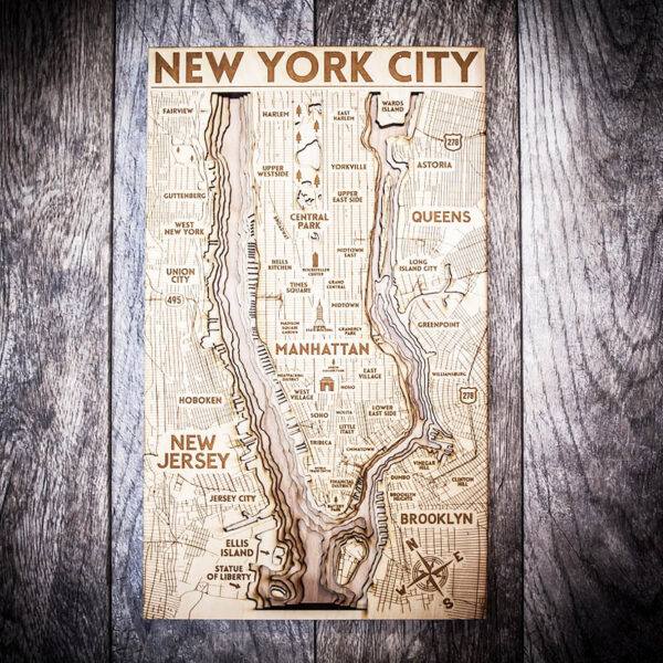 New York City 3d Wood Map, Home Decor, Gifts