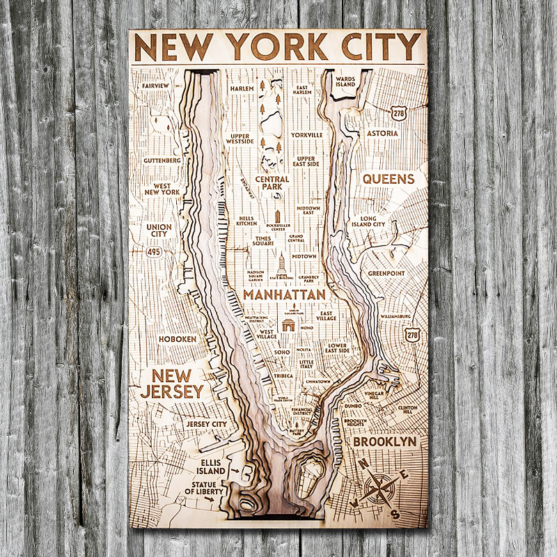 Map Of New York 3d.New York City Wood Map 3d Topographic Wood Chart