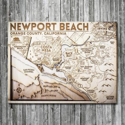 Newport Beach Wooden Map, 3D Map