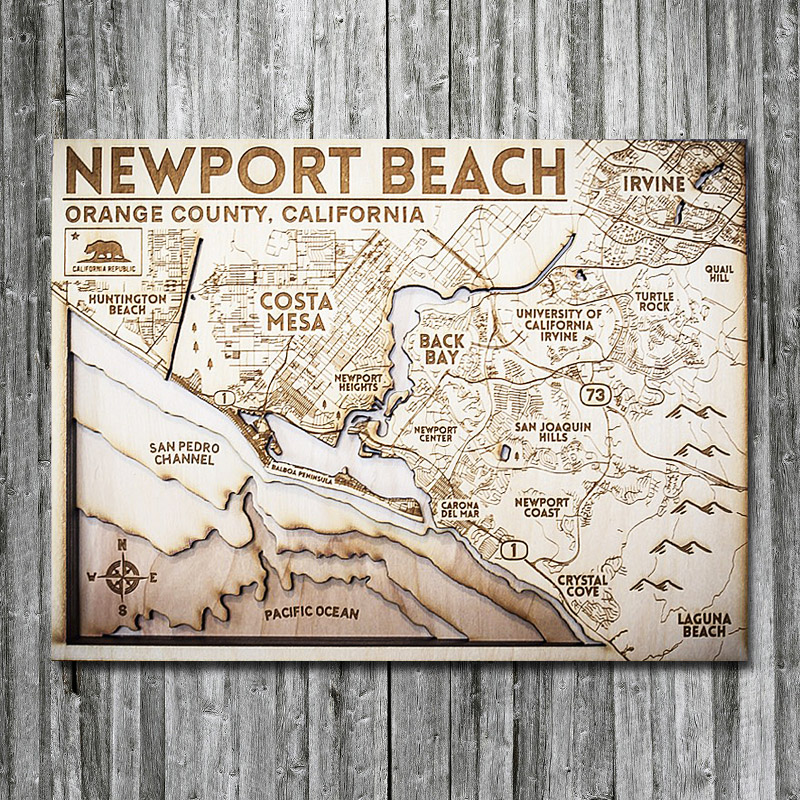 Newport Beach Wooden Map, 3D Map