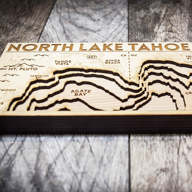 North Lake Tahoe Map, Tahoe City, 3D Wood Map, Nautical Decor