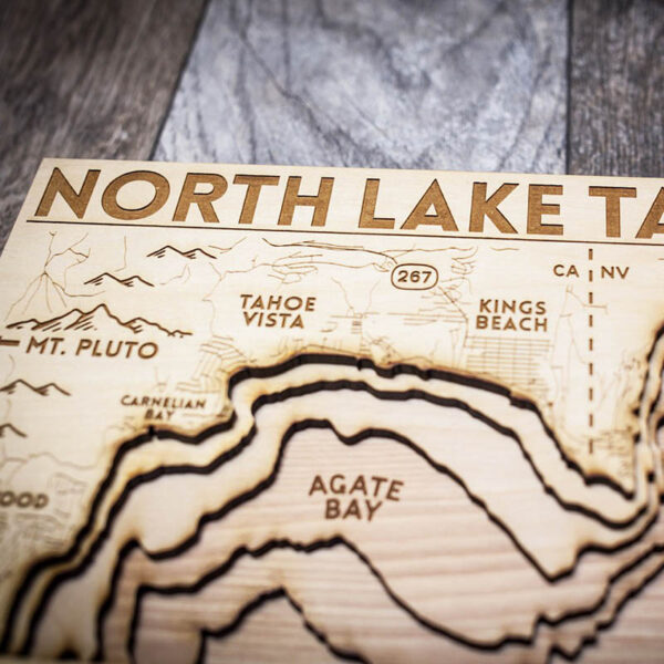 Wood Map of North Lake Tahoe zoomed in