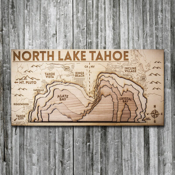 North Lake Tahoe Wood Map, 3D Topographic Chart