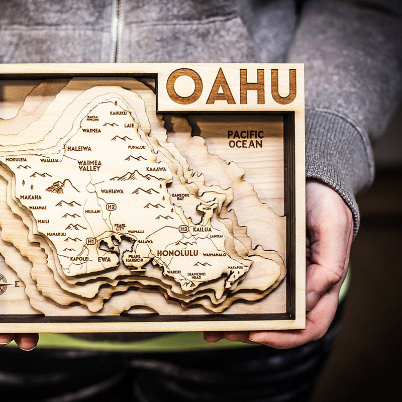 Oahu Hawaii 3d wood map